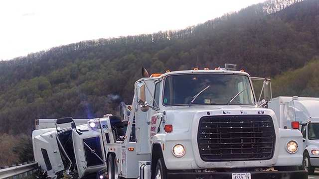 Tractor-trailers blow over on I-77 in Carroll County, cause delays
