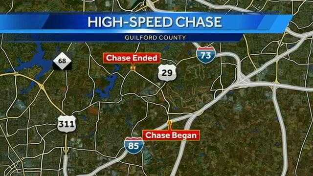 One person was taken to the hospital after a high-speed chase ended in a crash Friday morning, said deputies with the Guilford County Sheriff's Office.