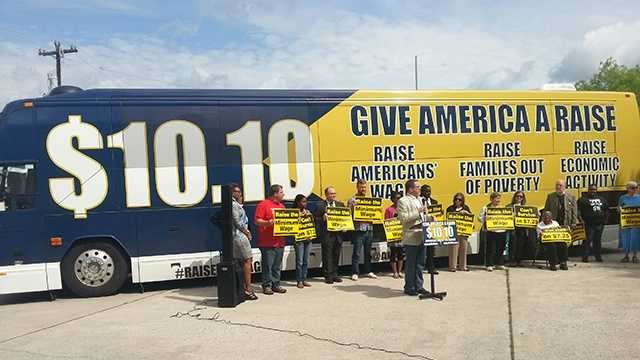 National minimm wage protest bus tour stops in Greensboro