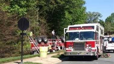 Fire truck overturns in Charlotte