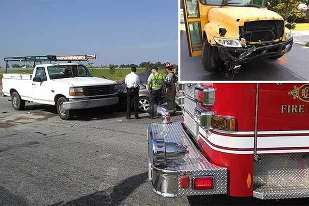Two people were injured after a private school bus hit three vehicles stopped on a Greensboro off-ramp Wednesday morning, troopers said.