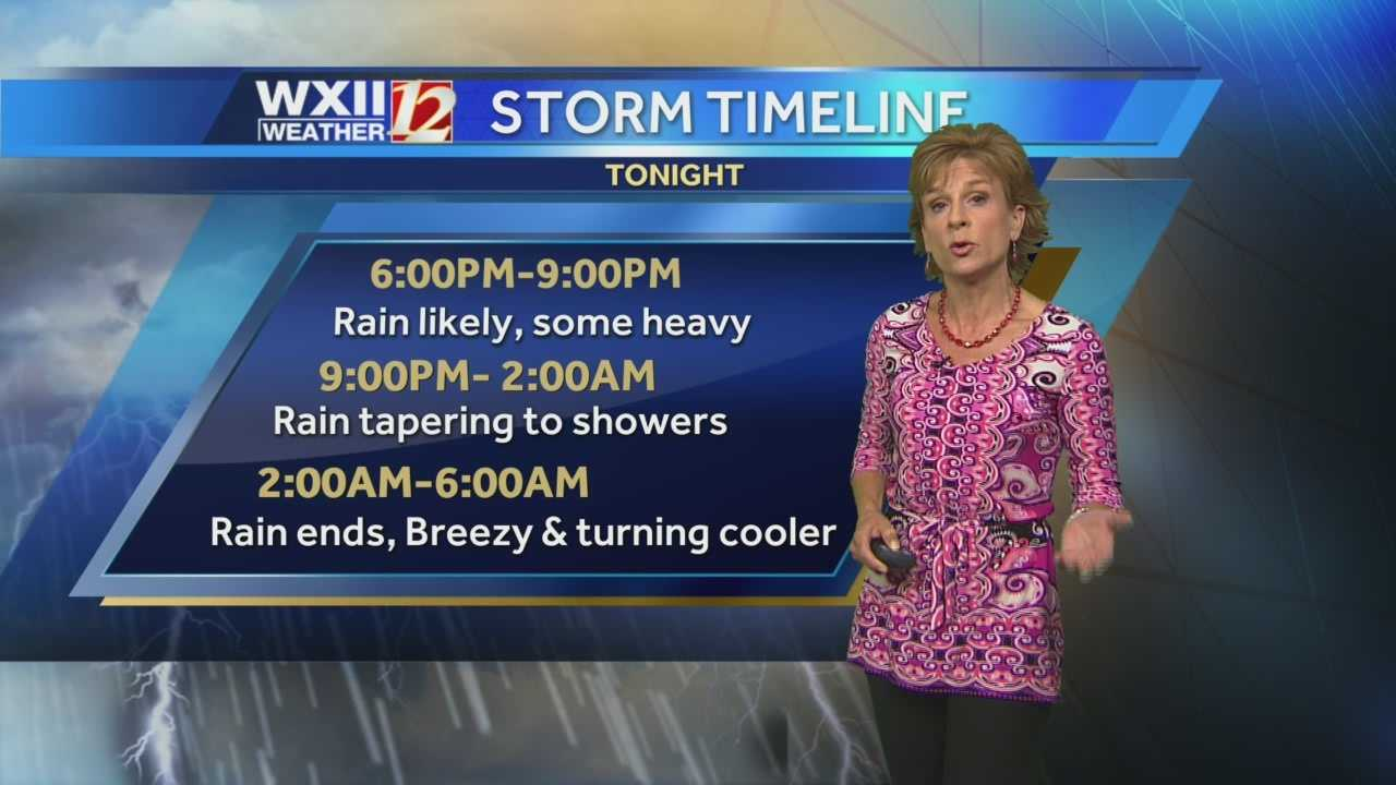The last batch of heavy rain will move through the Triad Thursday evening. Lanie Pope details tonight's forecast hour-by-hour.