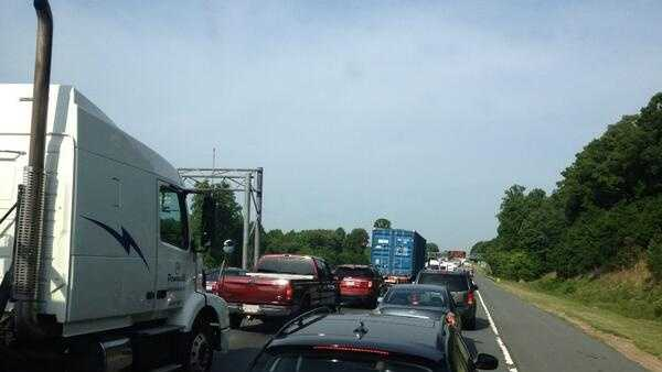 Tuesday morning's crash created a long traffic backup.
