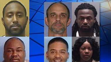 Left: Wanted suspects Burnett (top) and Compton (bottom). Right, clockwise from top: Davis, Jeffries, Lawson and Johnson.