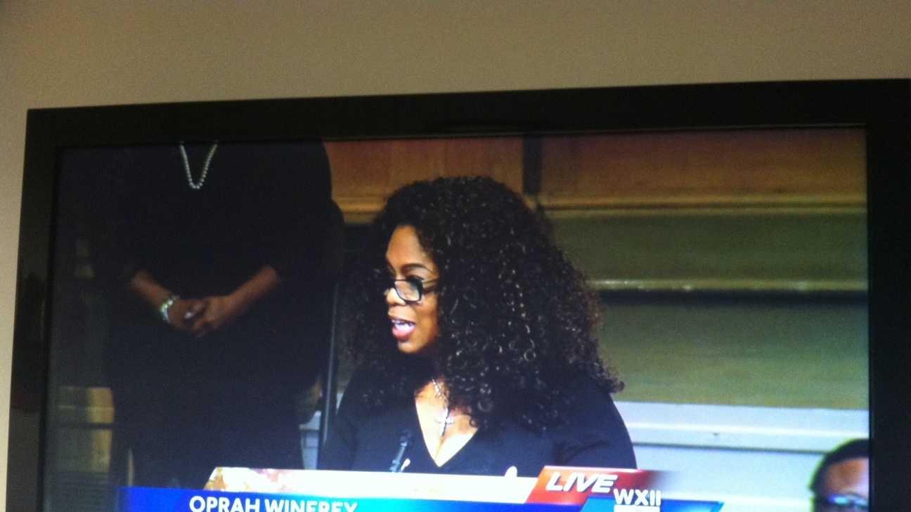 Oprah Winfrey speaks at Saturday's service.