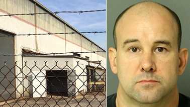 Left: Warehouse in Zebulon where alleged incident took place. Right: Robert Whiteside.