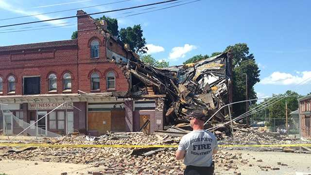 A section of the historic Kilby Hotel collapsed in High Point Wednesday.