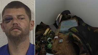Left: Robert Simeon Barham. Right: Grenade and vest found during shots fired investigation.