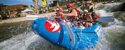 The U.S. National Whitewater Center is a great place to cool off and enjoy the great outdoors. Guests can enjoy whitewater rafting and kayaking, paddle boarding, rock climbing, zip lines, a canopy tour, and mountain biking on our 25+ mile trail system.