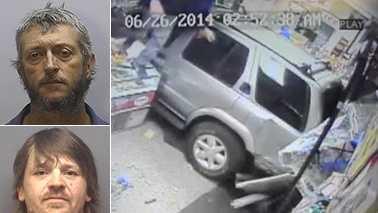 Kevin Cranford (top left), James Shoun Jr. (bottom left) and surveillance video of convenience store crash (right)
