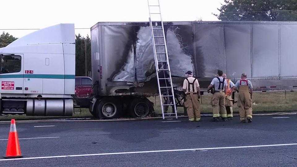 Semi-truck catches fire in Rockingham County