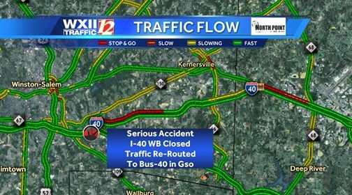 An accident involving a sign posting truck closed Interstate 40 west in Forsyth County Wednesday afternoon.