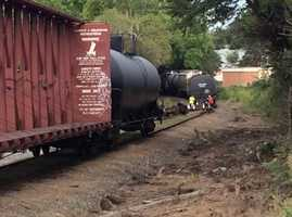 Authorities said a train derailed Wednesday morning in Rural Hall, with three train cars overturned.