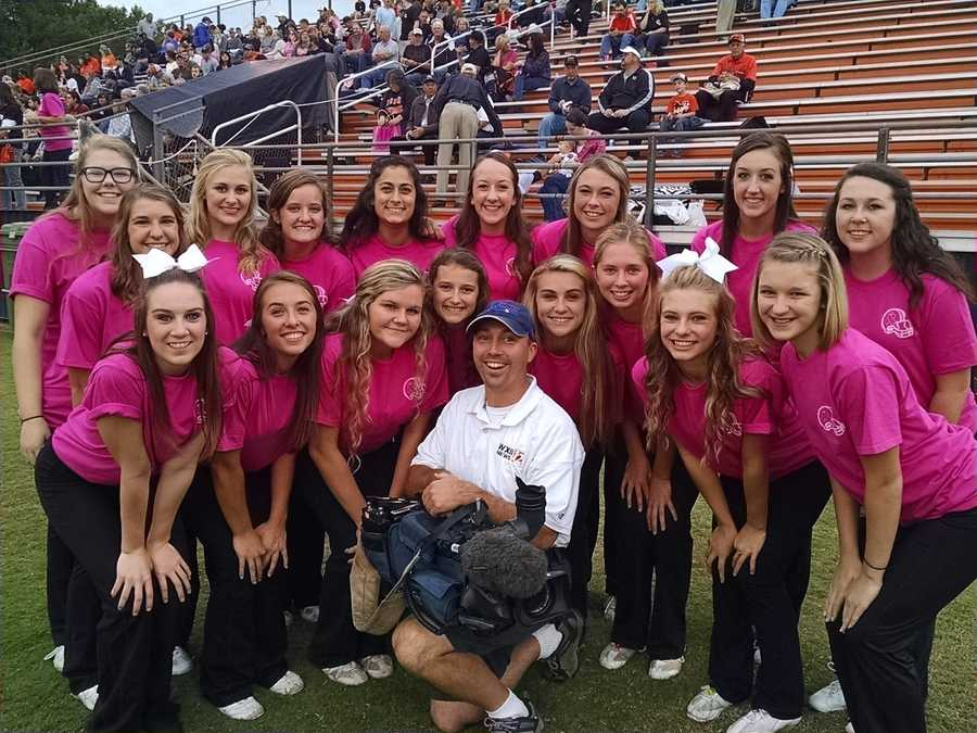 WXII 12's Chris Petersen with the North Davidson Cheer Team