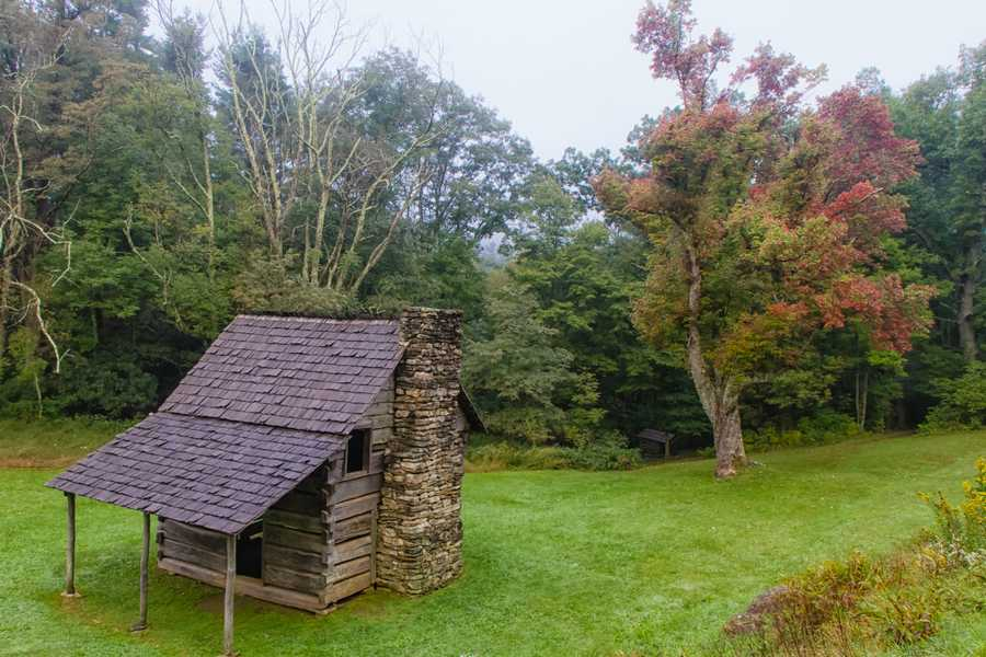 Sept. 26: Hints of fall color are emerging along the Blue Ridge Parkway, includingoutside the Jesse Brown Cabin near milepost 273 in E.B. Jeffress Park. (Photo by Monty Combs)