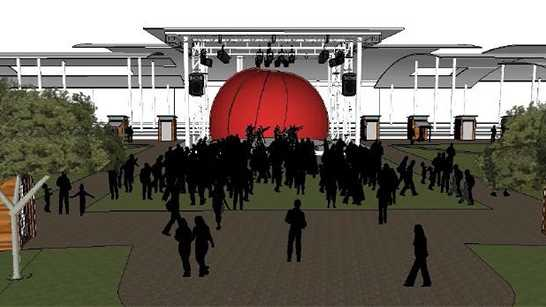 Artist rendering of proposed park, stage in downtown High Point