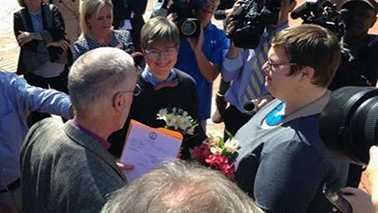 Nicole Pries and Lindsey Oliver became the first gay couple to marry in Virginia on Monday.