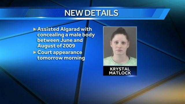 Krystal Matlock background graphic. (Her first court appearance was Wednesday.)