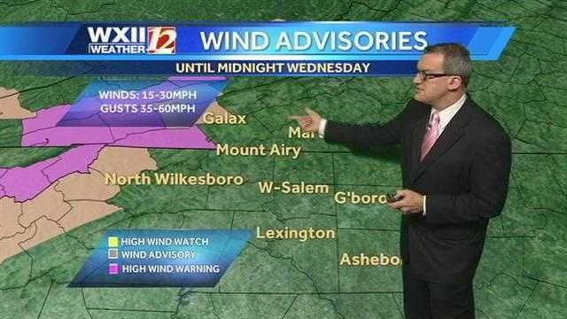 Wind advisories are in effect in the west, along with southwestern Virginia.