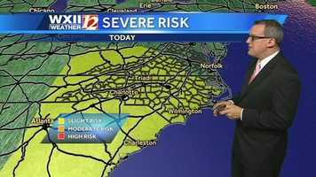 Most of North Carolina and parts of Virginia are under a slight risk for severe storms today.