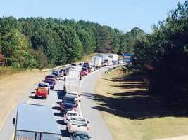 A multi-vehicle traffic accident has caused long backups Friday afternoon on Interstate 40 East in Winston-Salem, near Stratford Road.