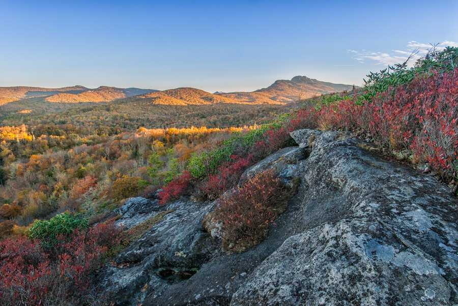 Oct. 20:Views of Grandfather Mountain from the Flat Rock Trail off the Blue Ridge Parkway prove that fall color is not ready to disappear just yet. (Photoby Skip Sickler)