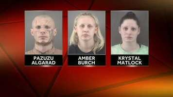 Pazuzu Algarad, Amber Burch and Krystal Matlock were scheduled to appear in court Thursday, Oct. 23. The next court date is now April 30.