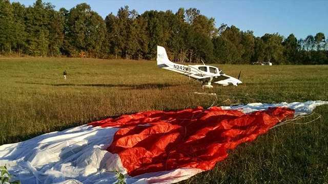 A parachute was used during the emergency landing of a Cirrus SR22 in a Davidson County field.