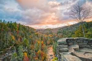 Oct. 22: The Linville River winds through colorful trees near Erwin's View Overlook at Linville Falls. (Photo by Skip Sickler) This moderate, 1.6-mile trail offers four overlooks for hikers to enjoy sights of autumn leaves and the falls.