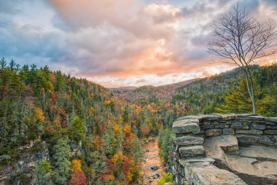 Oct. 22:The Linville River winds through colorful trees near Erwin's View Overlook at Linville Falls. (Photo by Skip Sickler) This moderate, 1.6-mile trail offers four overlooks for hikers to enjoy sights of autumn leaves and the falls.