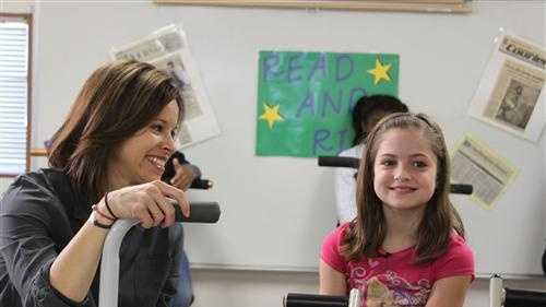 NBC's Jenna Wolfe talks with a student during Monday's shoot.