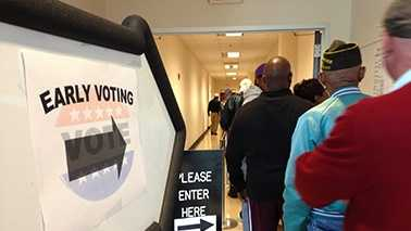 Long lines greeted people on the first day of early voting in Forsyth County Thursday.