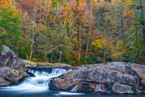 Oct. 25: Water flows over the upper falls at Linville Falls en route to the 45-foot plunge. (Photo by Skip Sickler)