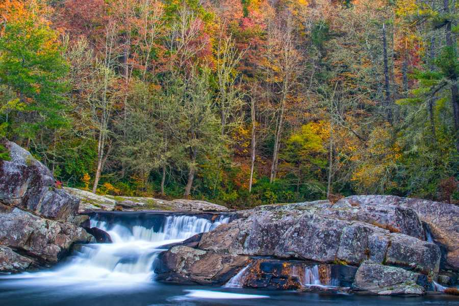 Oct. 25:Water flows over the upper falls at Linville Falls en route to the 45-footplunge. (Photo by Skip Sickler)