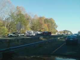 The crash happened just before a bridge construction zone as traffic was slowing down and merging into one lane.