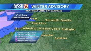 A winter storm warning has been issued for Ashe, Grayson and Watauga counties from 8 p.m. Friday to 8 p.m. Saturday.