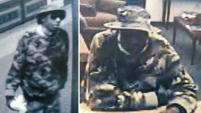 Surveillance image of Salisbury bank robbery suspect
