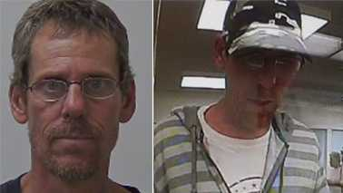 Left: Arrest photo of Brian Kuhles in Alabama. Right: Surveillance image of High Point bank robbery suspect.