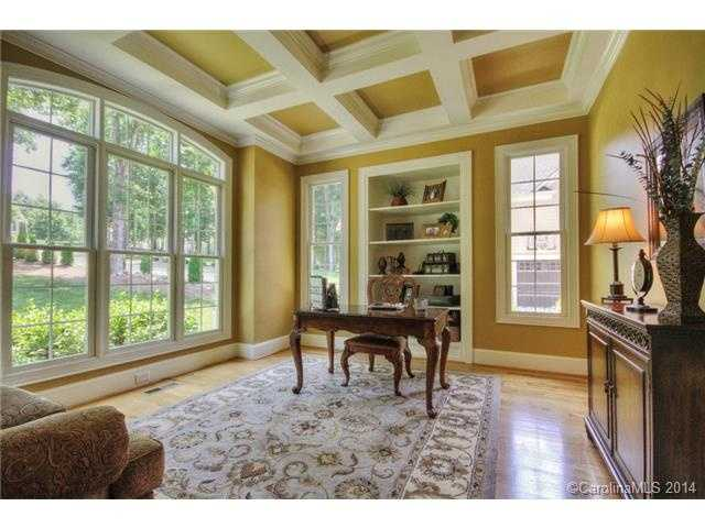 Home Office with a coffered ceiling