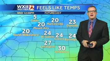 """Let's check the """"feels like"""" temperatures at various times, starting at noon Wednesday."""