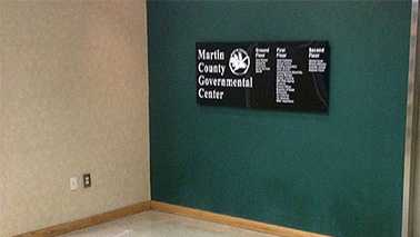 An ATM was stolen from this corner of the Martin County Courthouse lobby in late December.