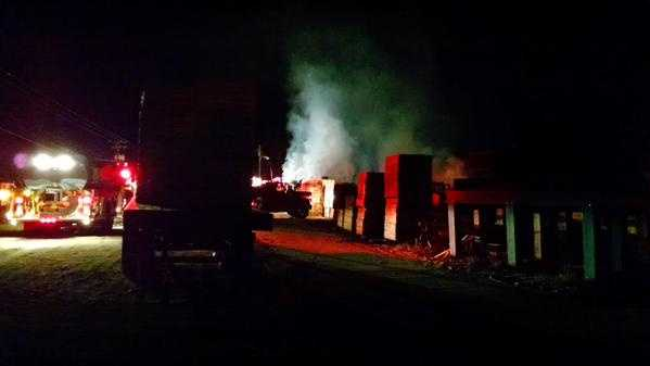 Fire crews battled a Friday morning fire at Mountain Lumber & Pallet in Mount Airy. Here are photos from the scene.