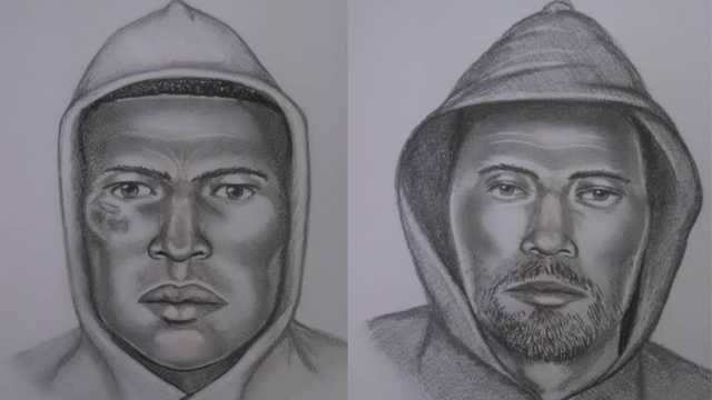 Sketch of Suspect 1 (left) and Suspect 2 (right)