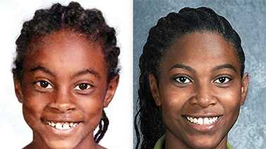Left: Asha Degree at age 9. Right: Age progression photo of Asha at age 24.