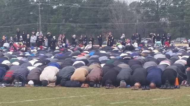 A Muslim prayer service honoring the three students killed in Chapel Hill was held at an athletic field owned by North Carolina State University.