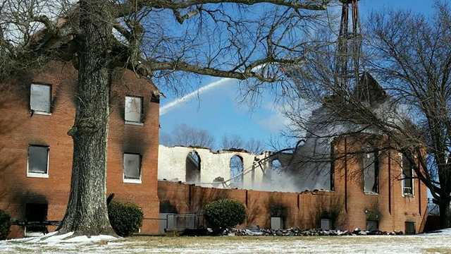 A large fire heavily damaged Mt. Carmel United Methodist Church near Reidsville Friday morning.