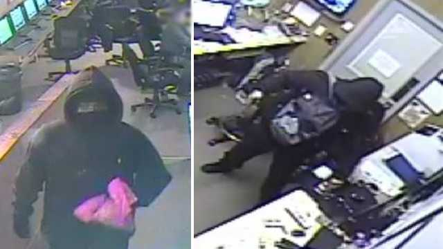 Surveillance images of sweepstakes armed robbery suspects