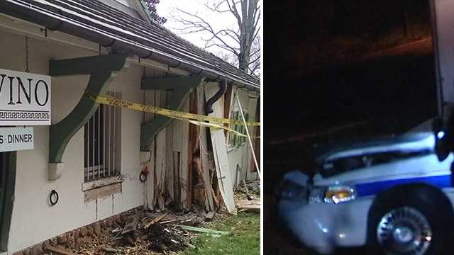 A Winston-Salem police car crashed into Pane e Vino restaurant in Reynolda Village early Tuesday morning.
