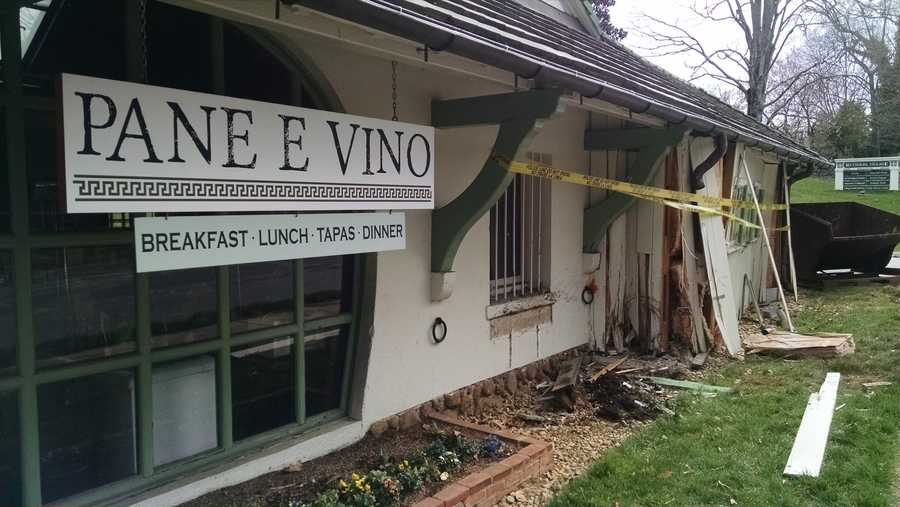 A Winston-Salem police officer was taken to the hospital after crashing his patrol car into a Reynolda Village restaurant early Tuesday morning.