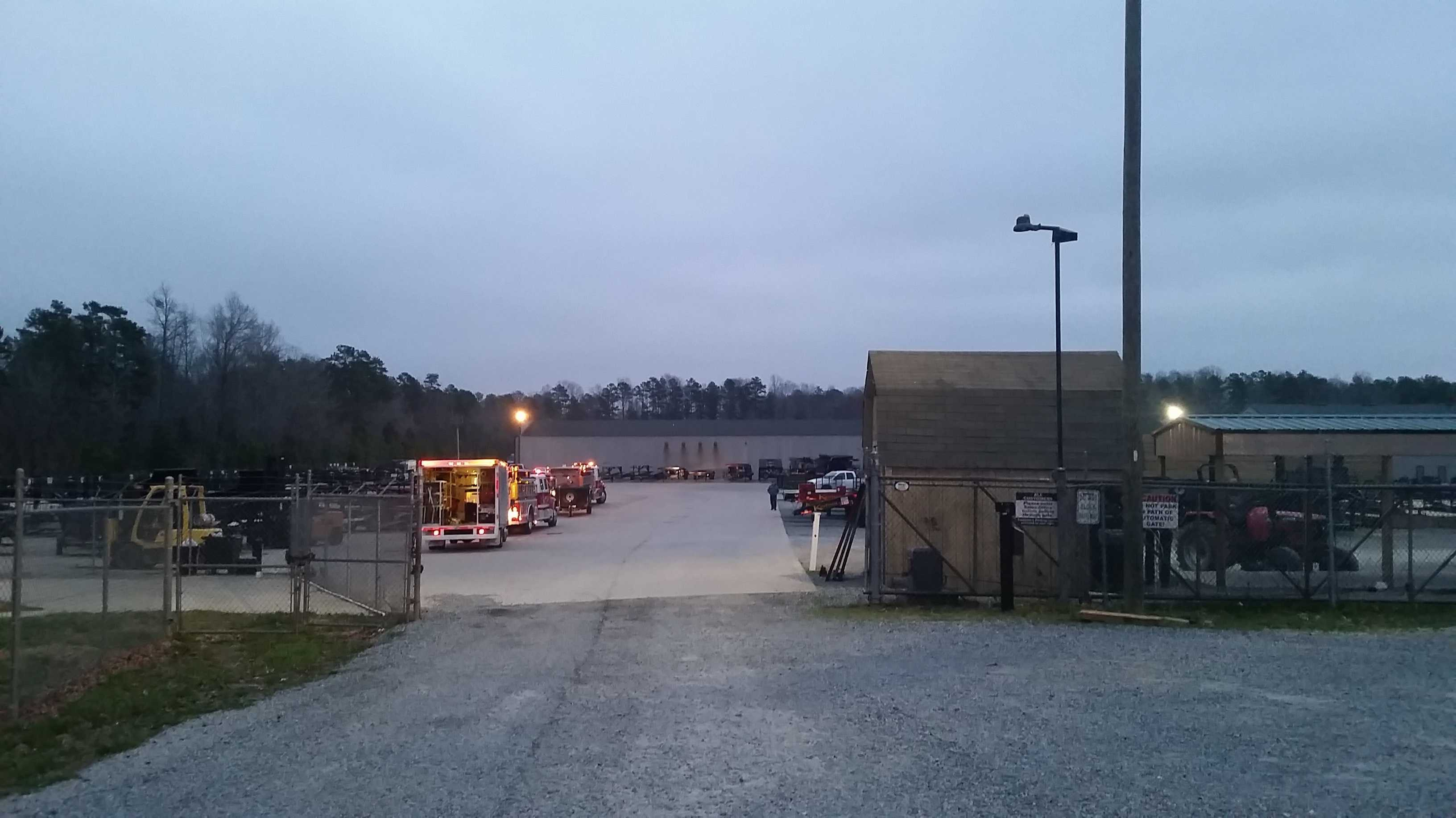 A building at Kaufman Trailers caught fire early Wednesday morning.